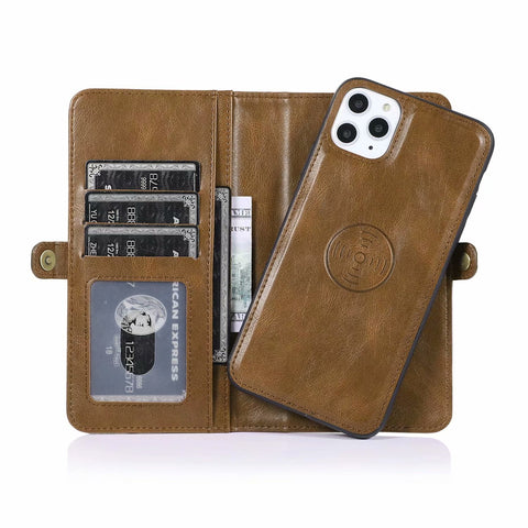 Detachable Magnetic (2 in 1) Leather Wallet Case For iPhone