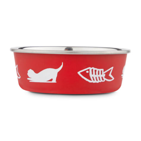 "Harmony Fish Lover""s Skid-Resistant Stainless Steel Red Cat Bowl, 1 Cup"