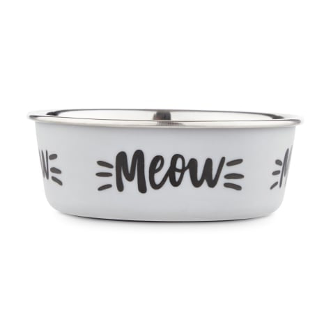 Harmony MEOW Skid-Resistant Stainless Steel Cat Bowl, 1 Cup