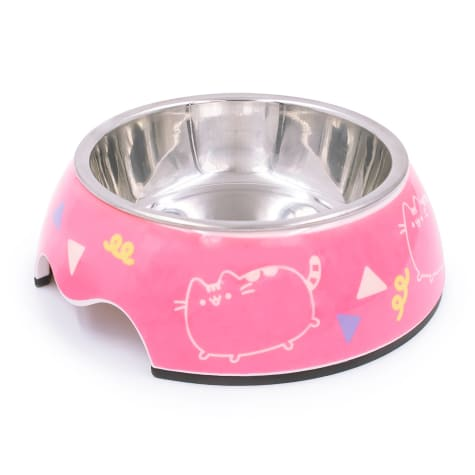 Pusheen Dance Party Pink Stainless Steel Cat Bowl, 0.75 Cup