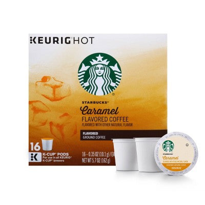Starbucks Caramel Flavored Medium Roast Coffee - Keurig K-Cup Pods - 16ct