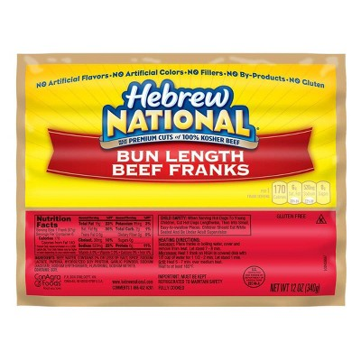 Hebrew National Bun Length Beef Franks - 6ct/12oz