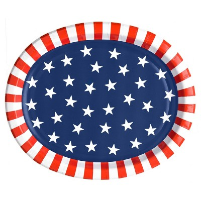 "10""x12"" 10ct Oval Platter Stars and Stripes - Sun Squad™"