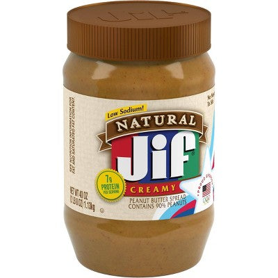 Jif Natural Creamy Peanut Butter - 40oz