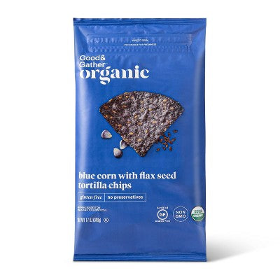 Organic Blue Corn Tortilla Chips with Flax Seeds - 12oz - Good & Gather™