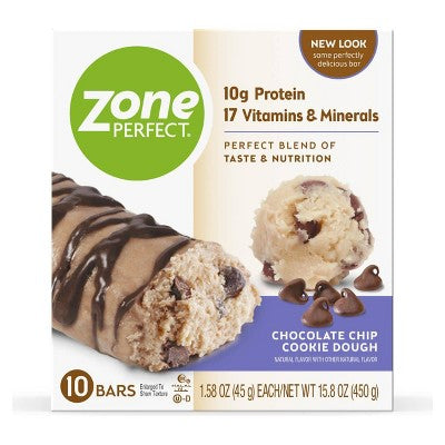 Zone Perfect Nutrition Bar Chocolate Chip Cookie Dough - 1.76oz(10pk)