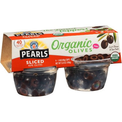 Pearls Sliced Organic Ripe Olives to Go 1.4oz