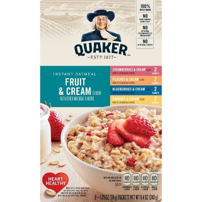 Quaker Fruit & Cream Instant Oatmeal Variety - 8ct/9.8oz
