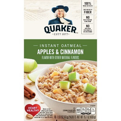 Quaker Instant Oatmeal Apple Cinnamon - 10ct