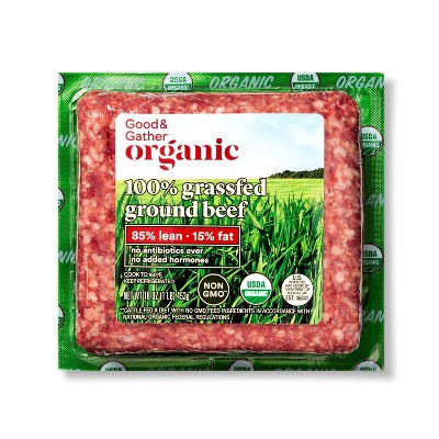 Organic 100% Grassfed 85/15 Ground Beef - 1lb - Good & Gather™