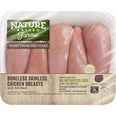 Nature Raised Farms Antibiotic Free Boneless Skinless Chicken Breasts - 0.7-2.4lbs - priced per lb