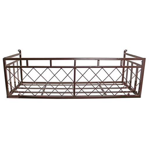 European-Style 34 in. W Brown Metal Window Box