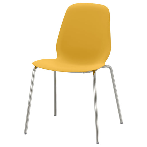 LEIFARNE Chair - dark yellow, Broringe chrome plated