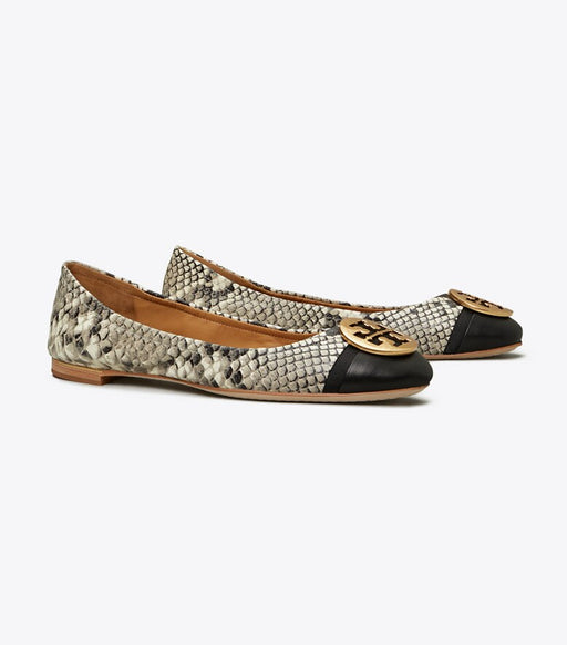 Minnie Cap-Toe Travel Ballet Flat, Embossed Leather