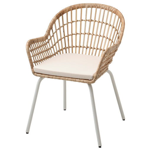 NILSOVE / NORNA Chair with chair pad - rattan white, Laila natural