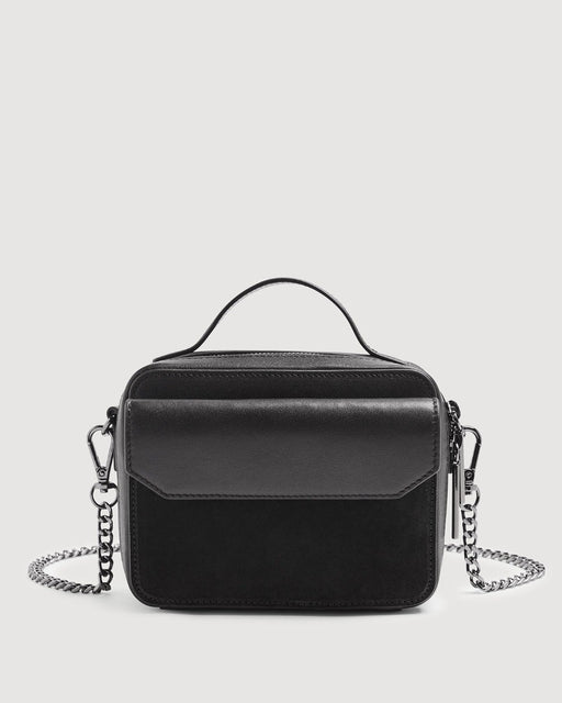 Leather Cube Bag in Black
