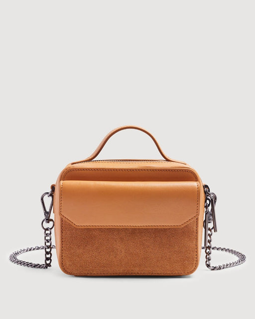 Leather Cube Bag in Cognac