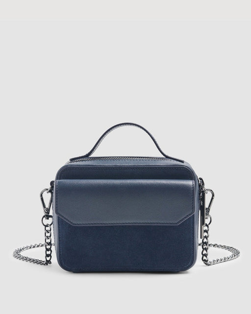 Leather Cube Bag in Navy