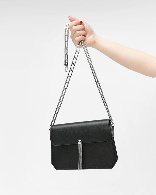 Black Leather Crossbody Bag with Tassel