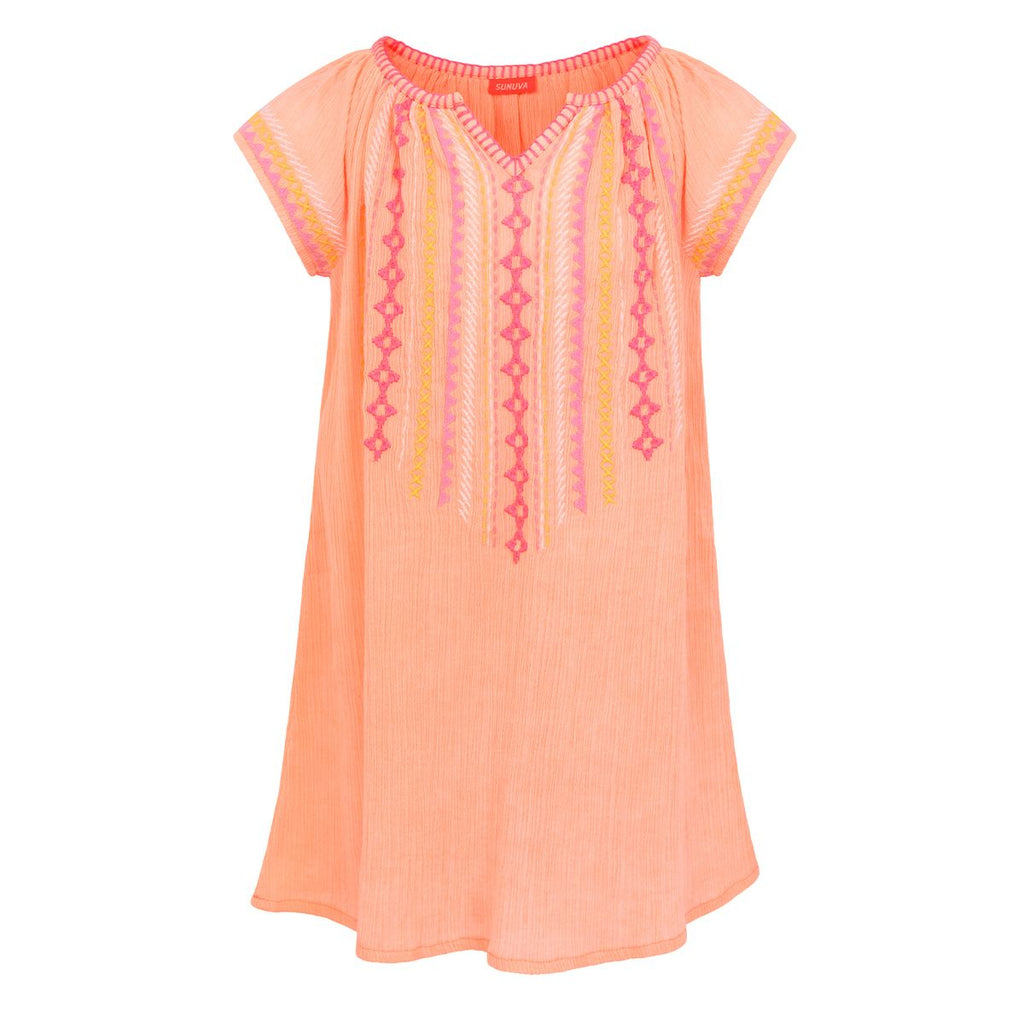 Girls Neon Peach Embroided Cheesecloth Dress