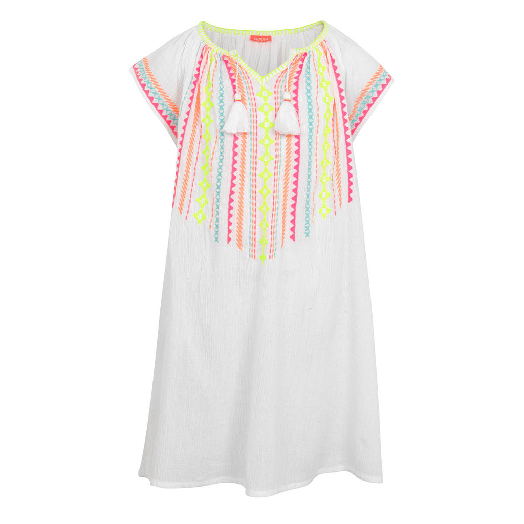Girls White Embroided Cheesecloth Dress