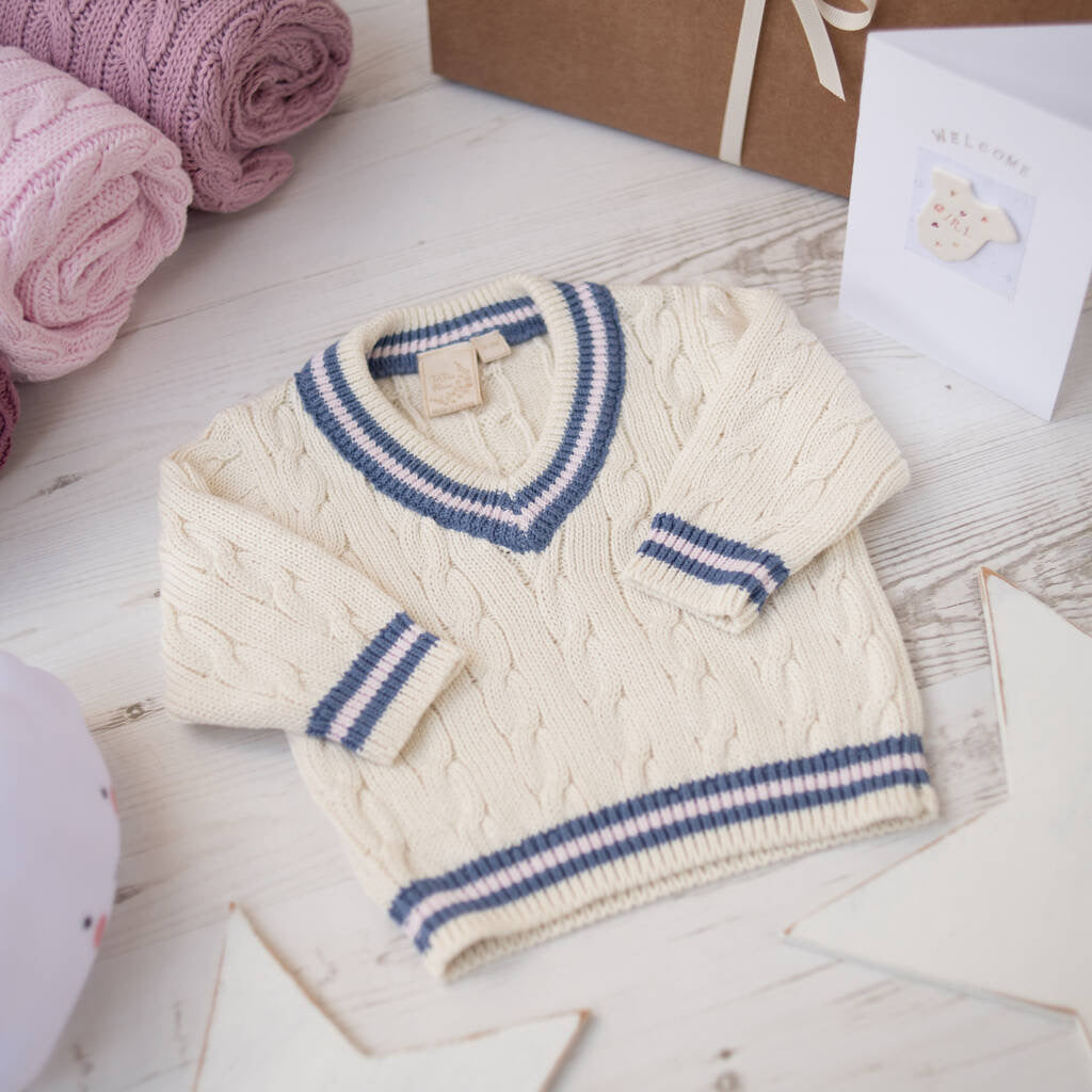 Cream Baby Girls Cricket Jumper with Pink & Blue Stripes