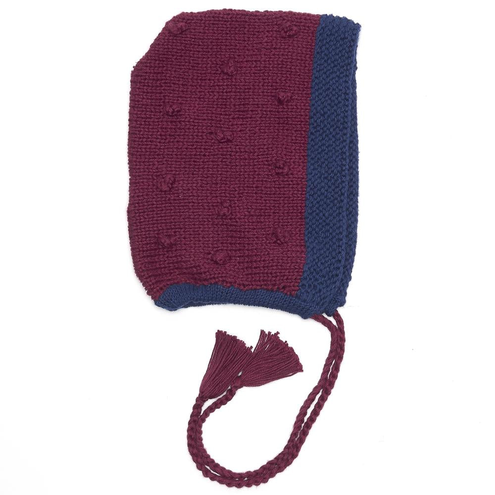Organic Cotton Pixie Bonnet Burgundy/ Navy