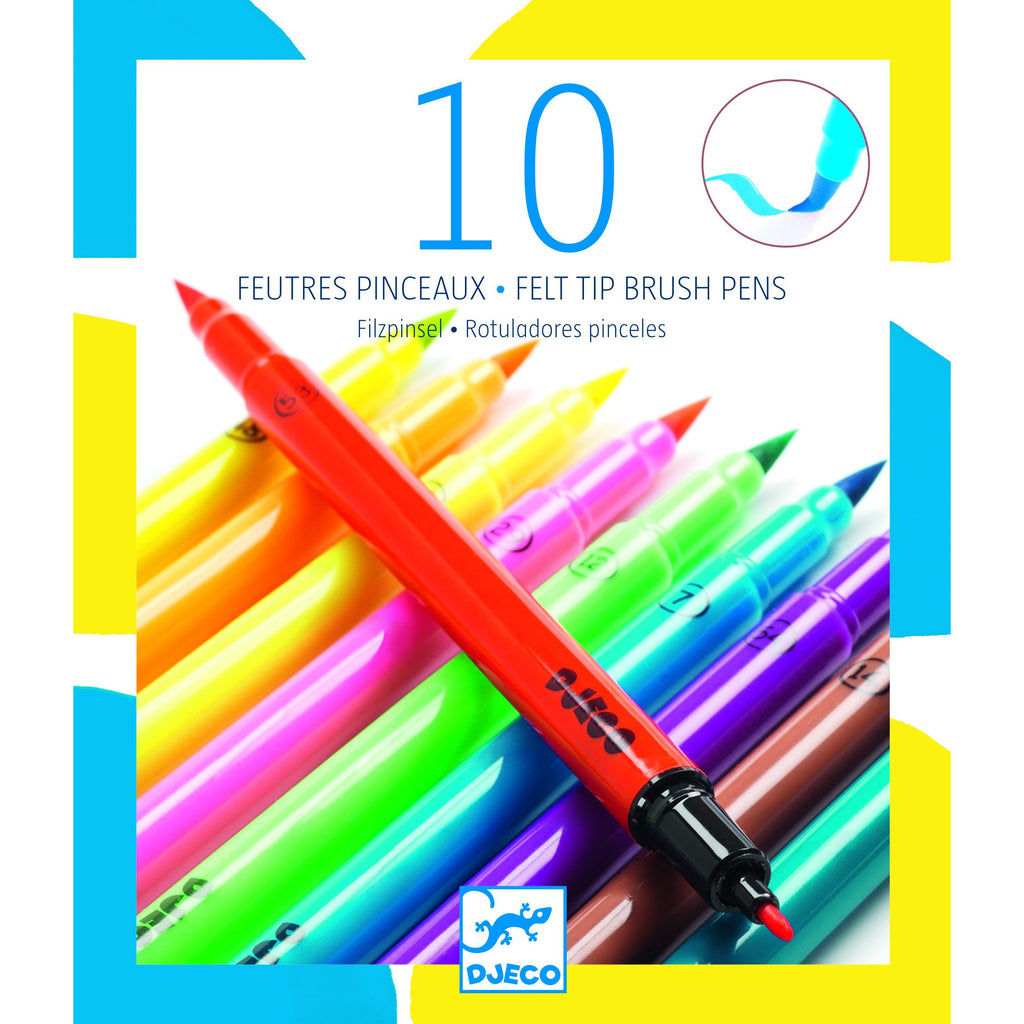 10 Brush Tip Felt Pens - Pop Colours