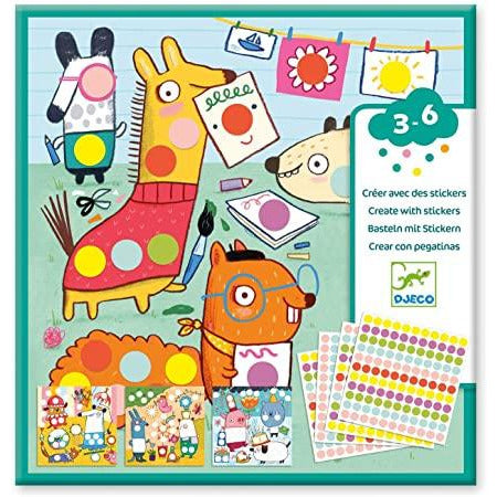 Djeco Create With Stickers - With Coloured Dots
