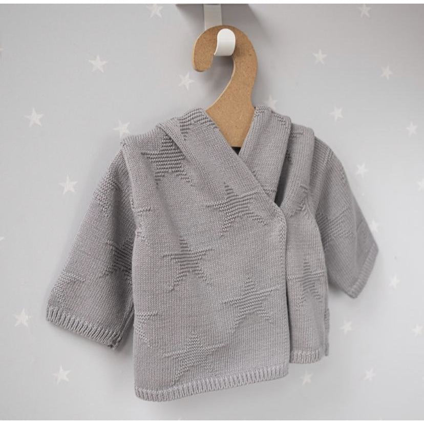Hound Grey Star Hooded Baby Cardigan