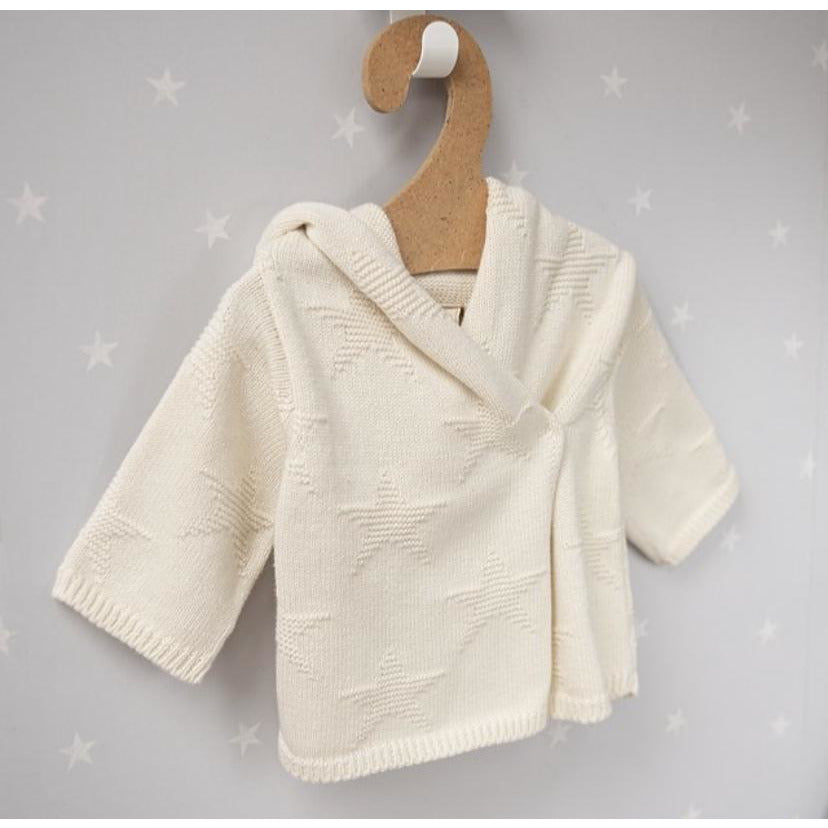 Cream Star Hooded Baby Cardigan