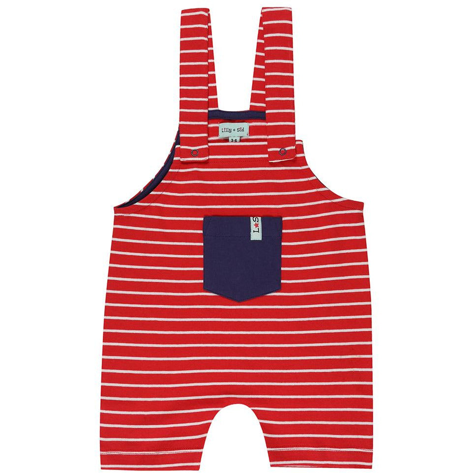 Red Stripe Shortie Dungarees