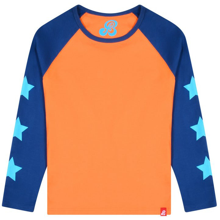 Star Sleeves Sweatshirt - Vermillion Orange / Twilight Blue
