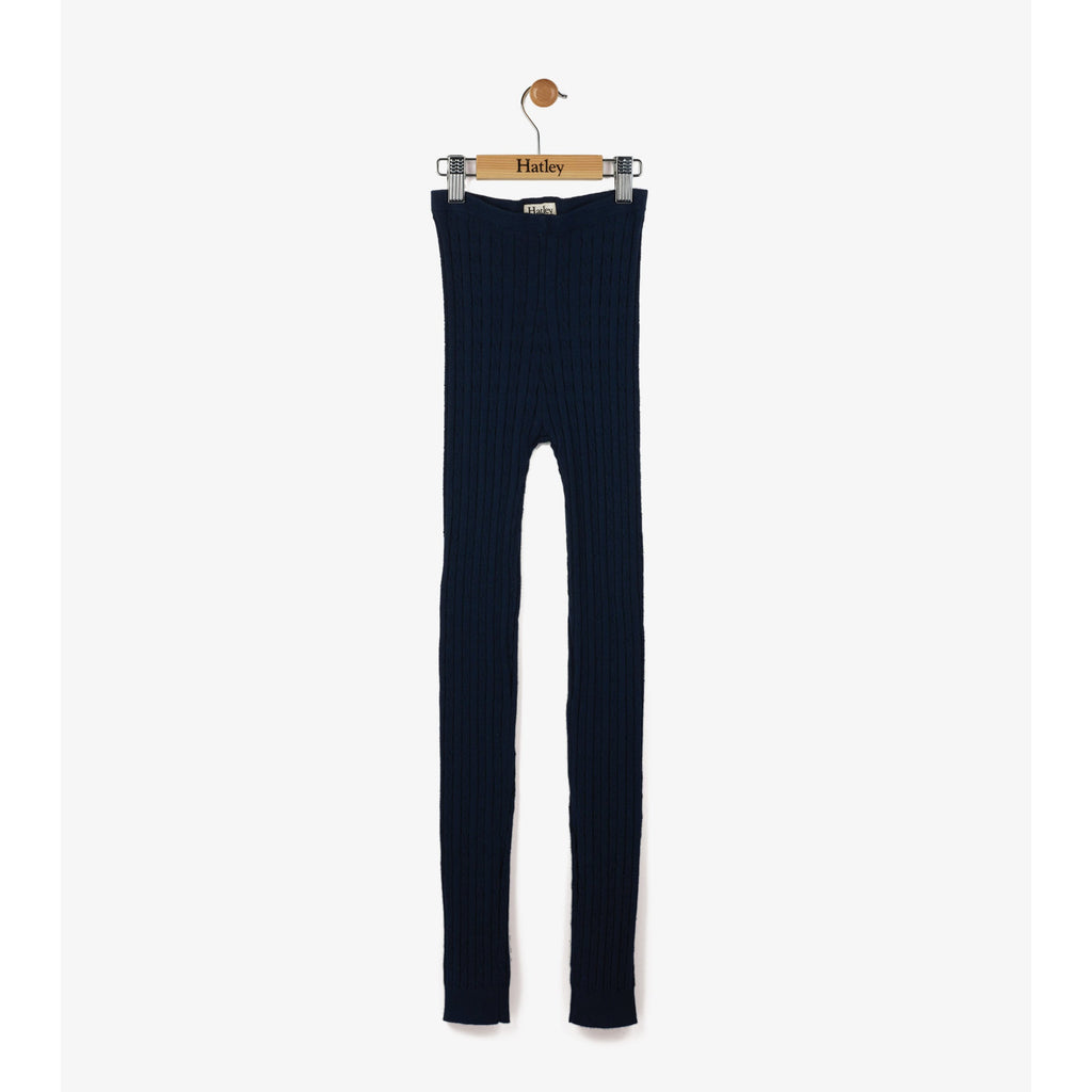Navy Cable Knit Leggings