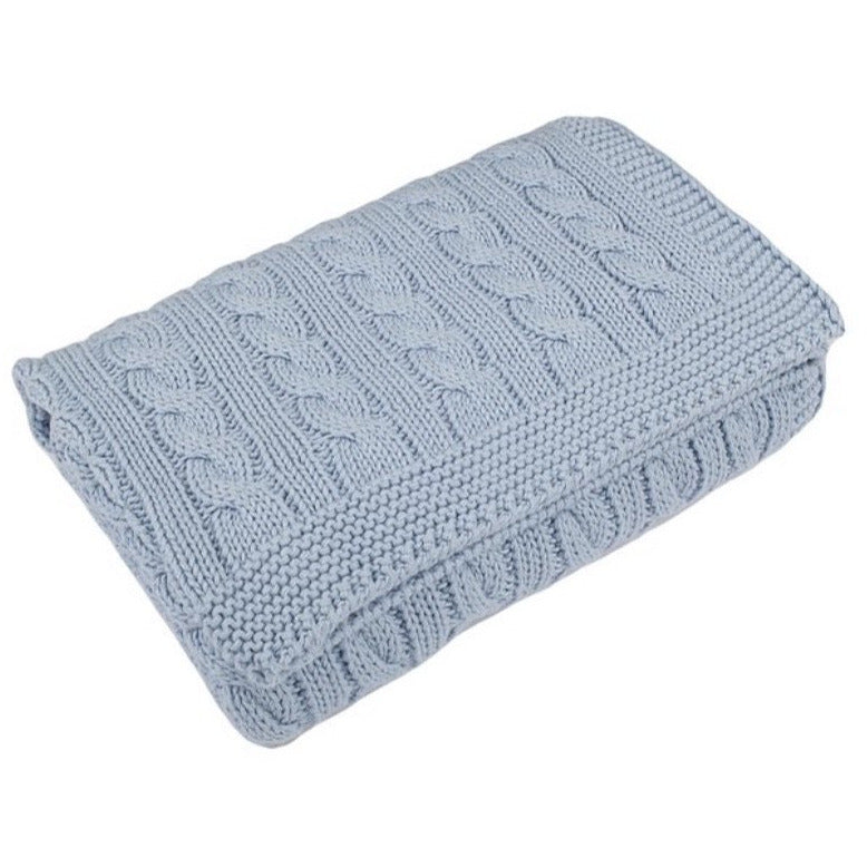 Blue Grey Cable Baby Blanket