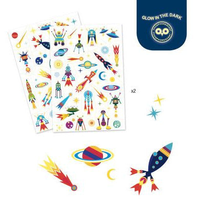 Djeco Tattoos Space Oddity - Glow In The Dark
