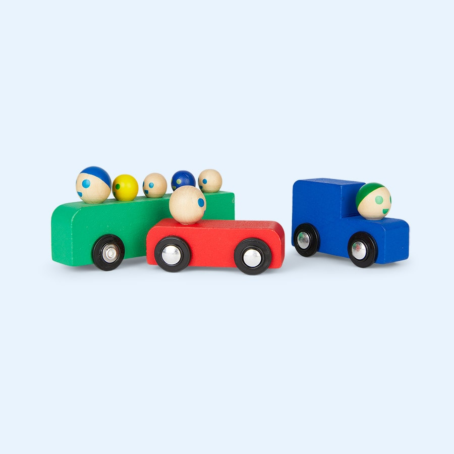 Set of Wooden Cars & Bus