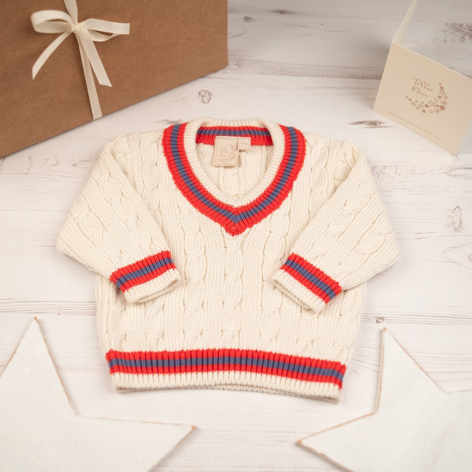 Boys Cricket Jumper Cream With Red and Storm Blue Stripes