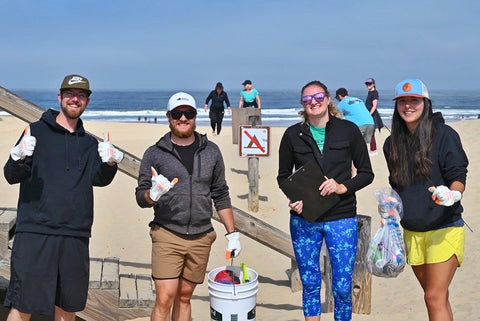 Volunteers at the SLOFLY beach cleanup.