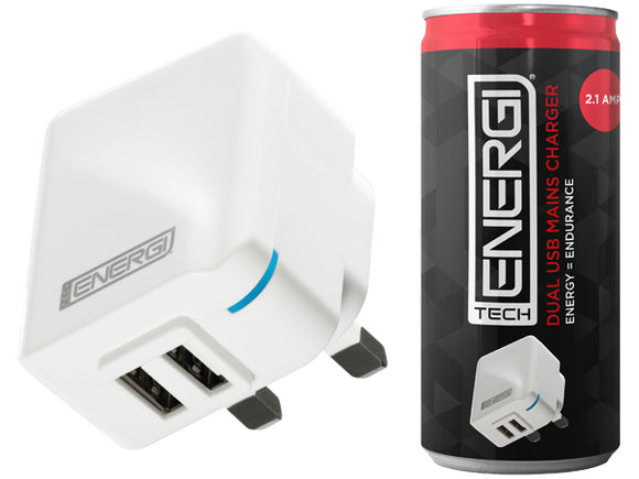 Tech Energi® 2.1Amp Dual USB Mains Charger