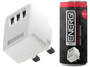 Tech Energi® 3.1Amp Triple USB Mains Charger