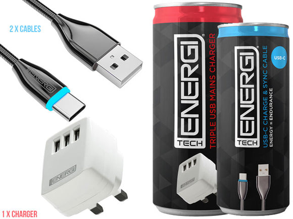 Tech Energi® USB-C Home/Office Twin Pack