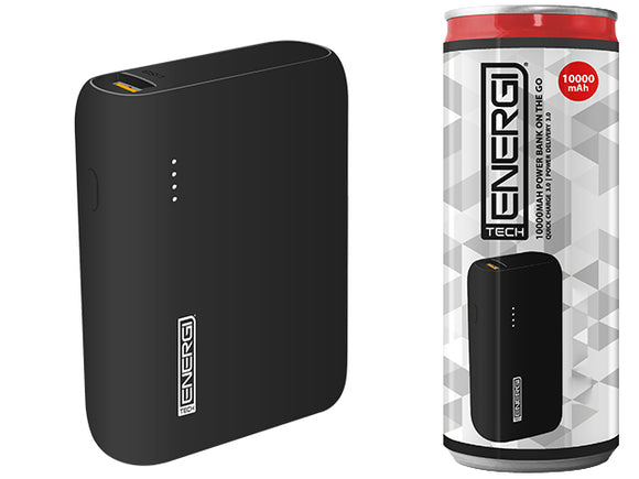 Tech Energi® TE100 PD (Power Delivery) QC 3.0 (Quick Charge) 10000mAh Power Bank On the Go