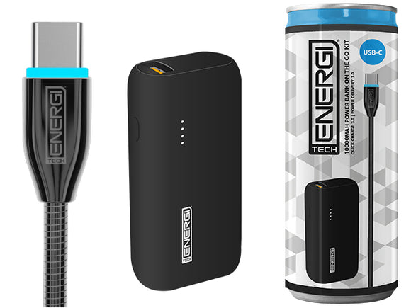Tech Energi® TE50 PD (Power Delivery) QC 3.0 (Quick Charge) USBC 5000mAh Power Bank On the Go Kit