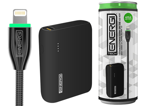 Tech Energi® TE100 PD (Power Delivery) Lightning 10000mAh Power Bank On the Go Kit