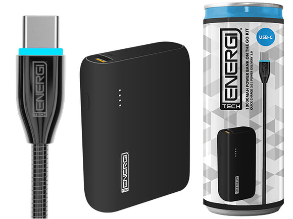Tech Energi® TE100 PD (Power Delivery) QC 3.0 (Quick Charge) USBC 10000mAh Power Bank On the Go Kit
