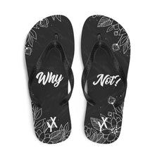 Load image into Gallery viewer, Why Not? Black Floral Flip Flops