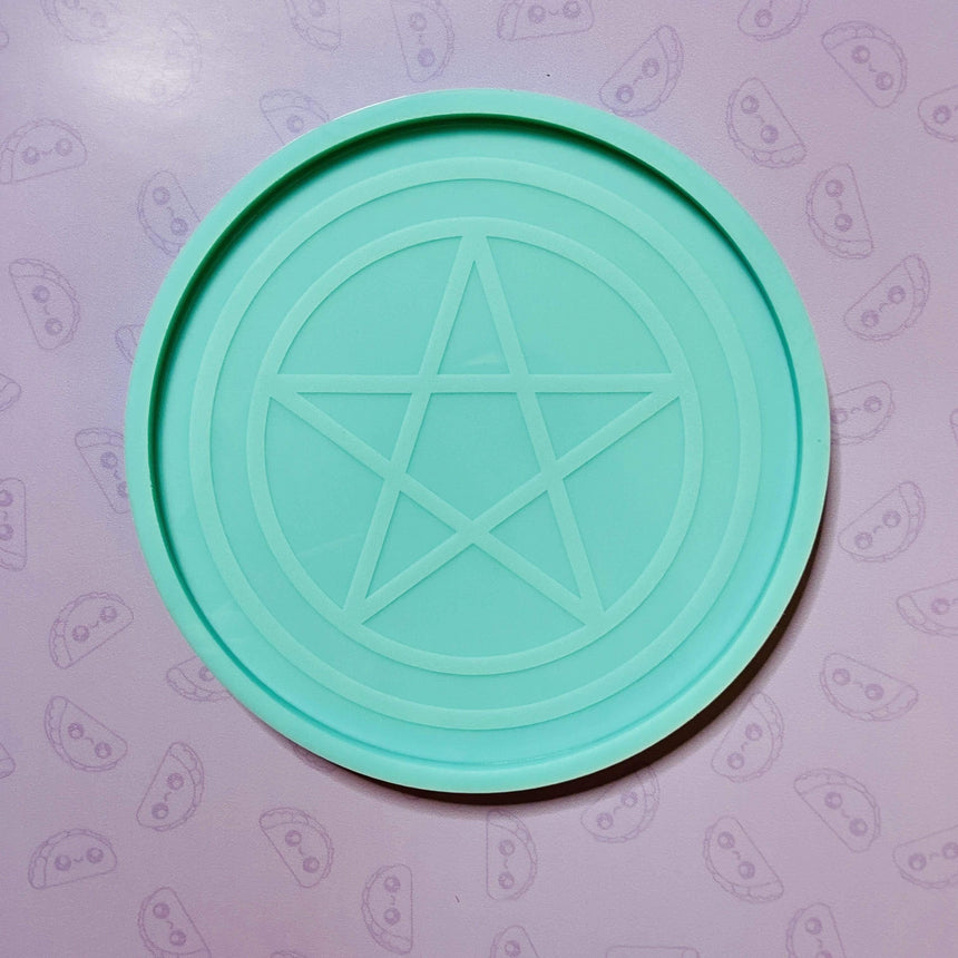 Engraved Pentagram Flat Alter Plate Silicone Mold, 7in - TACO MOLDS