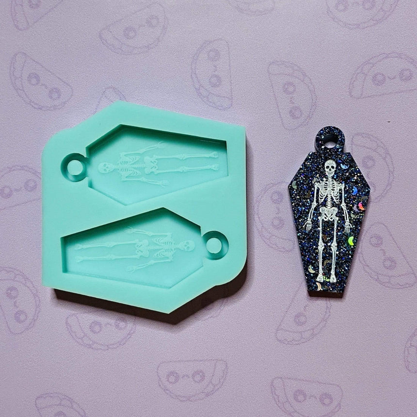 Mini Engraved Skeleton Coffin Keychain Silicone Mold, 2.25in - TACO MOLDS