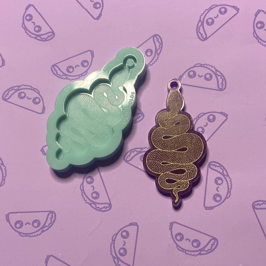 Mini Engraved Snake Keychain Silicone Mold, 3.5in - TACO MOLDS